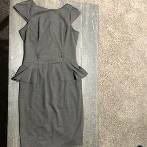 Grey brown pencil peplum top dress